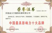 中国最具影响力十大品牌证书