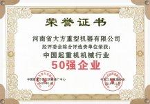 中国雷电竞app下载机械行业50强企业证书